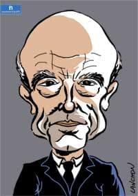 Portrait d'Alain Juppé, homme politique de droite et droit dans ses bottes
