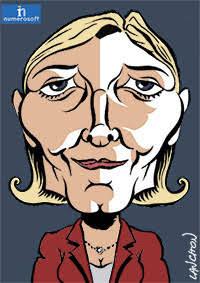 Portrait de Marine Le Pen, femme politique d'extrême droite